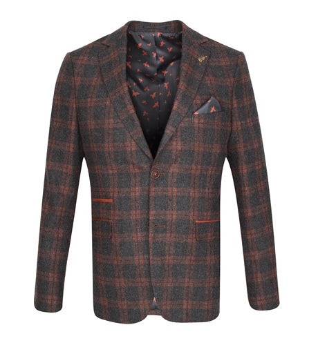 Fratelli Charcoal and Brown Checked Jacket