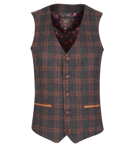 Fratelli Charcoal and Brown Checked Waistcoat