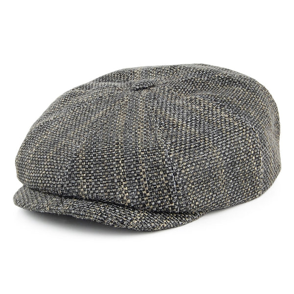 Stetson Hive Toyo Hatteras Newsboy Cap - Black-Natural