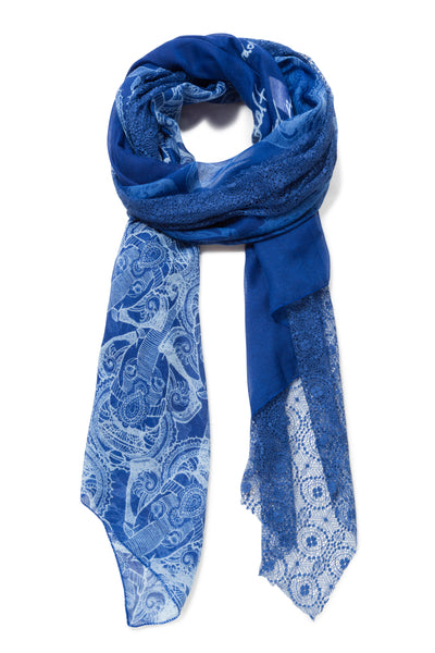DESIGUAL RECTANGULAR BLUE SCARF