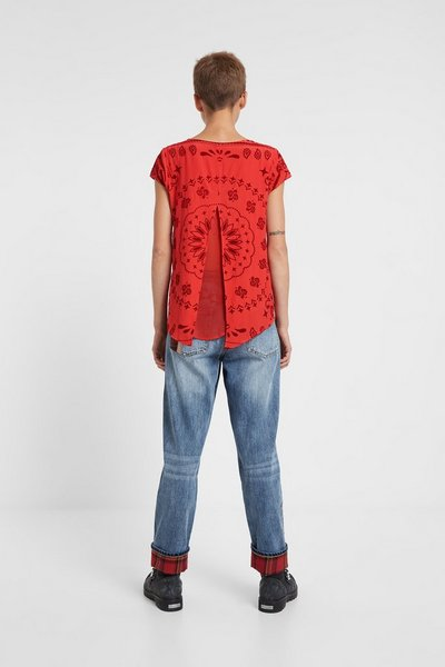Desigual Viscose crepe blouse with rear opening red