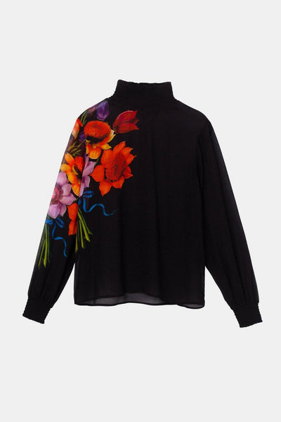 Desigual Silk and viscose blouse with elasticated neck and cuffs Designed by M. Christian Lacroix