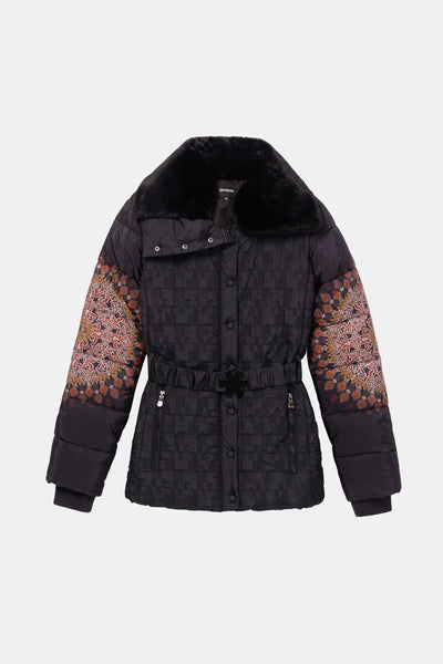 Desigual Adjustable waist funnel neck padded jacket