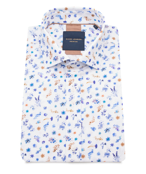 GUIDE LONDON FLORAL SHORT SLEEVE SHIRT IN NAVY & WHITE