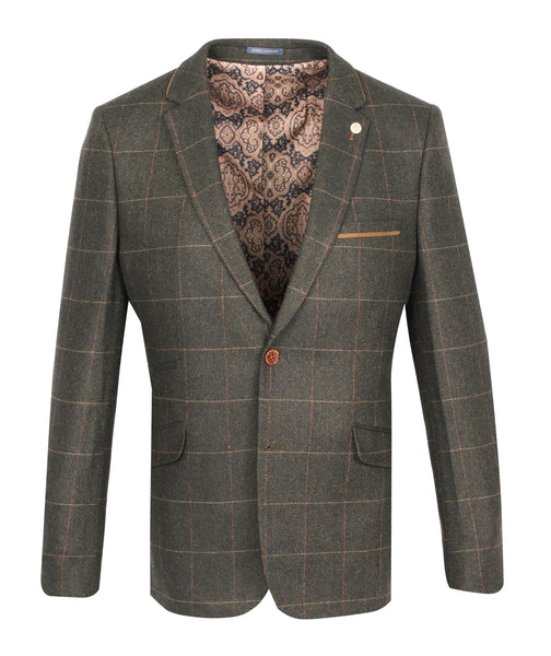 Two Button Suit Blazer- Olive- by Guide London
