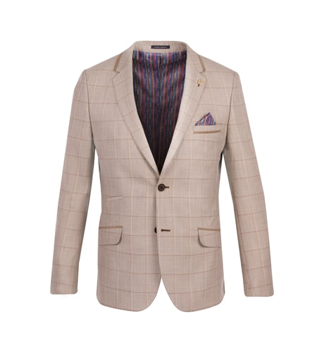 Guide London Tan Subtle Check Blazer with Suede Details Long Sleeve Shirt