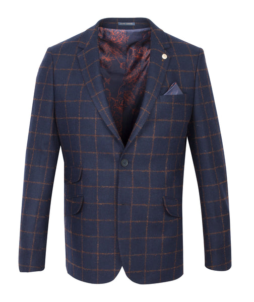 Guide London Tan Wool Blend Check Jacket