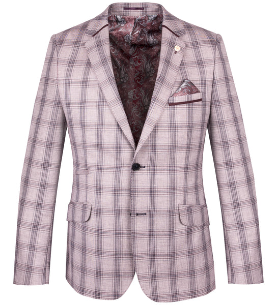 Guide London Heather Linen Blend Check Blazer