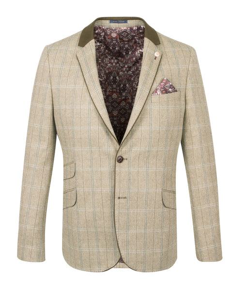 Guide London Olive Jacket with Trim Collar