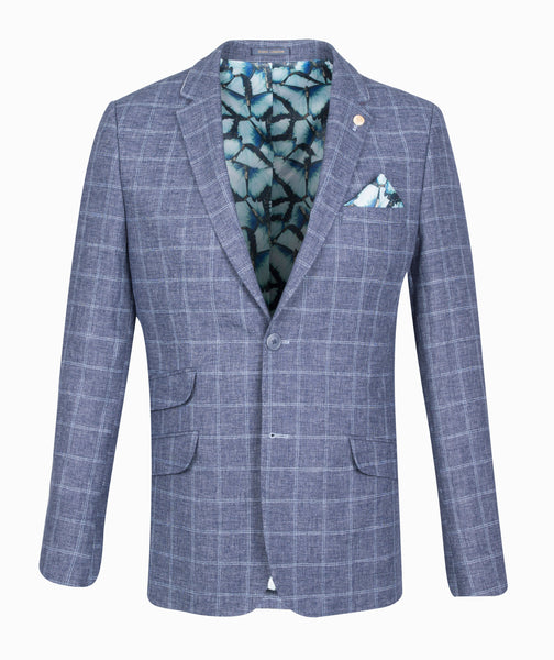 Guide London Blue Grey Checked Jacket
