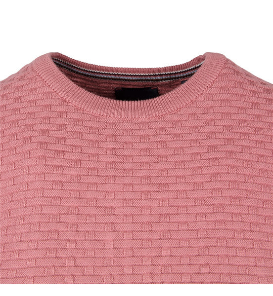 Guide London Navy Mens Knitwear Crew Neck Blush