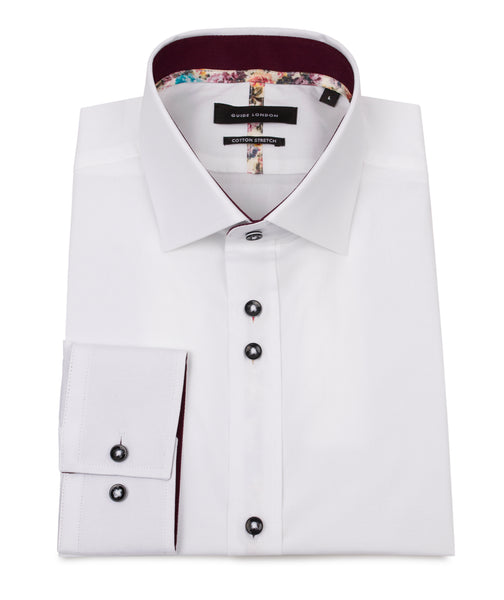 WHITE STRETCH COTTON SHIRT WITH BRIGHT FLORAL TAPING