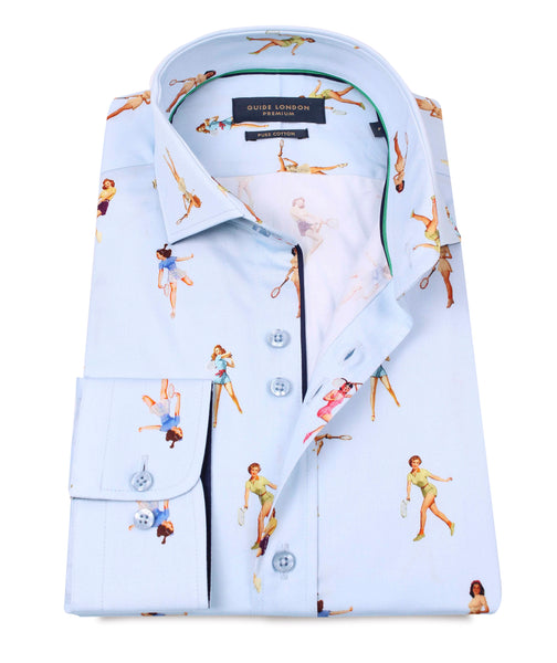 z NAVY COTTON SATEEN PINUPS TENNIS PLAYERS PRINT SHIRT