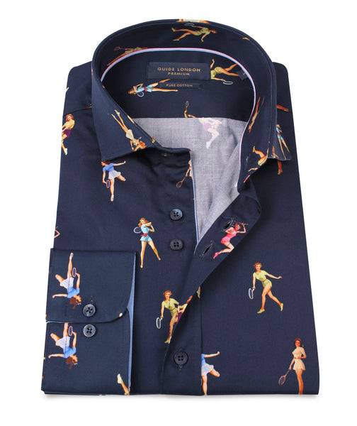 NAVY COTTON SATEEN PINUPS TENNIS PLAYERS PRINT SHIRT