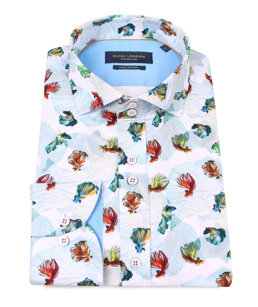 Guide London White Cotton Sateen Fruit Of The Sea Shirt With A Seaweed Background