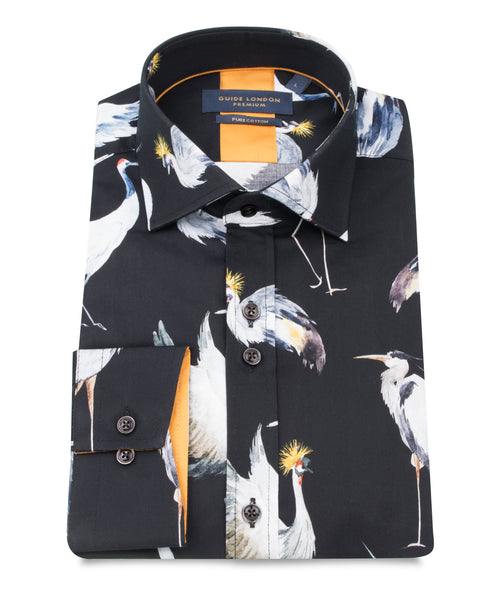 Guide London Black Pure Cotton Shirt With Birds Print
