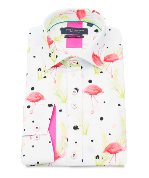 z - Guide London Multi Pure Cotton Shirt With Flamingo Print