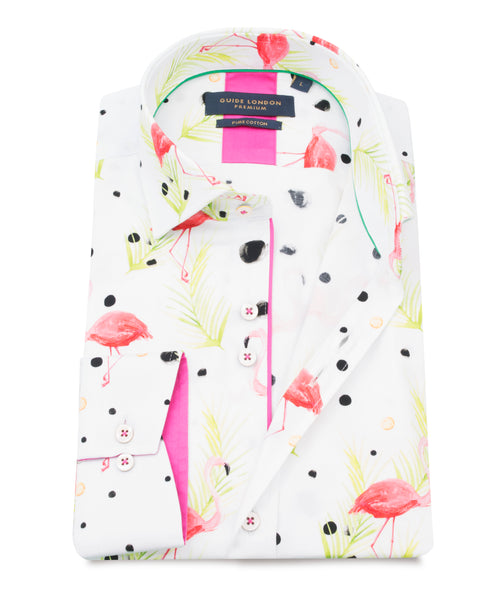 GUIDE LONDON MULTI PURE COTTON SHIRT WITH FLAMINGO PRINT