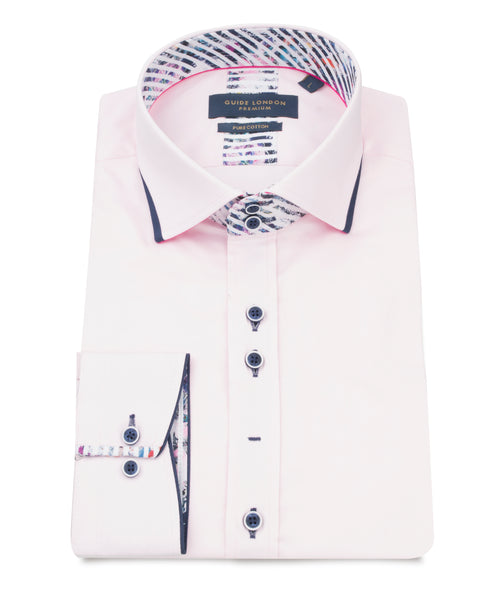 z - GUIDE LONDON PINK PURE COTTON PLAIN DETAILED SHIRT