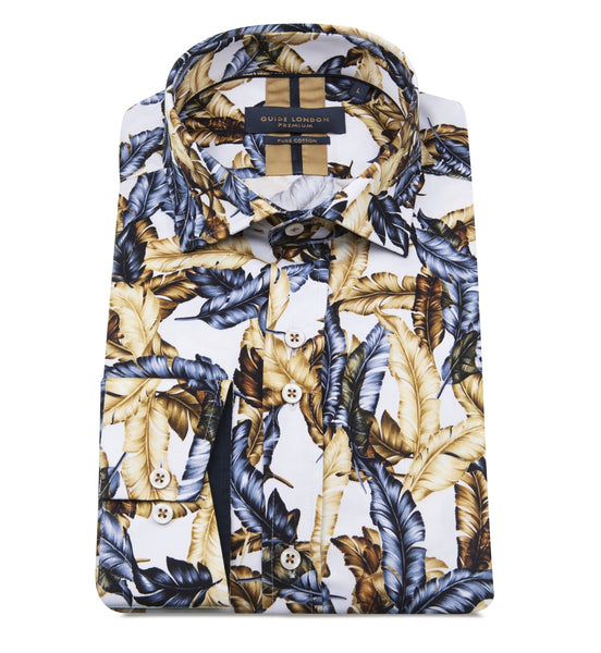Guide London Blue and Sand Leaf Shirt