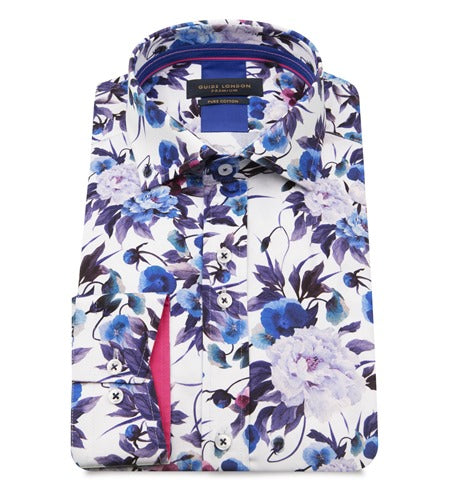 Guide London Blue and Purple Floral Shirt