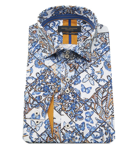 Guide London Butterfly Tile Print Shirt