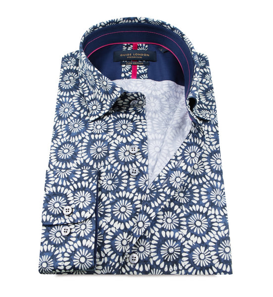 Guide London Blue/White Mens Long Sleeve Shirt