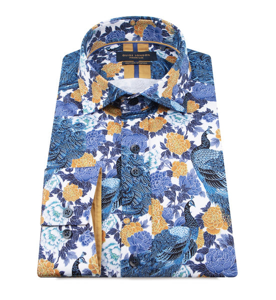 Guide London Abstract Autumn Leaves Long Sleeve Shirt Navy