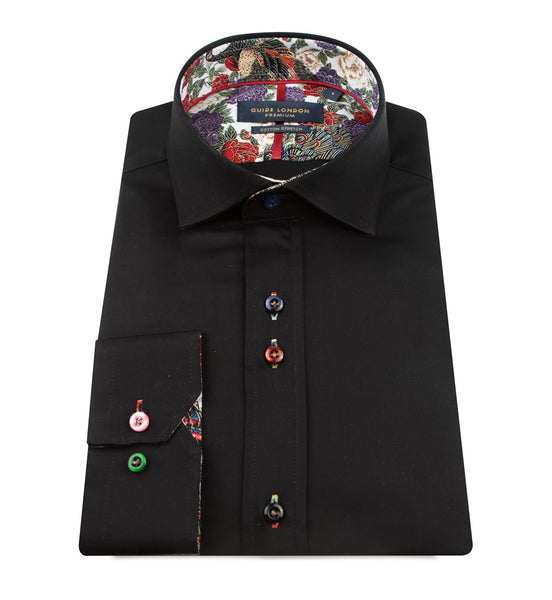 Guide London Black Mens Long Sleeve Shirt