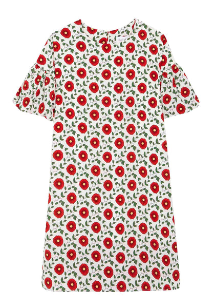 COMPANIA FANTASTOCA RED FLOWER DRESS