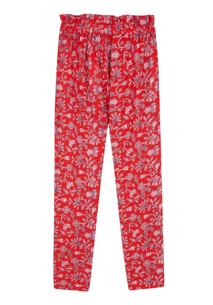 COMPANIA FANTASTICA RED FLORAL PAPERBAG TROUSERS