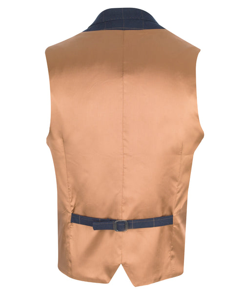 Navy Waistcoat with Tan checked