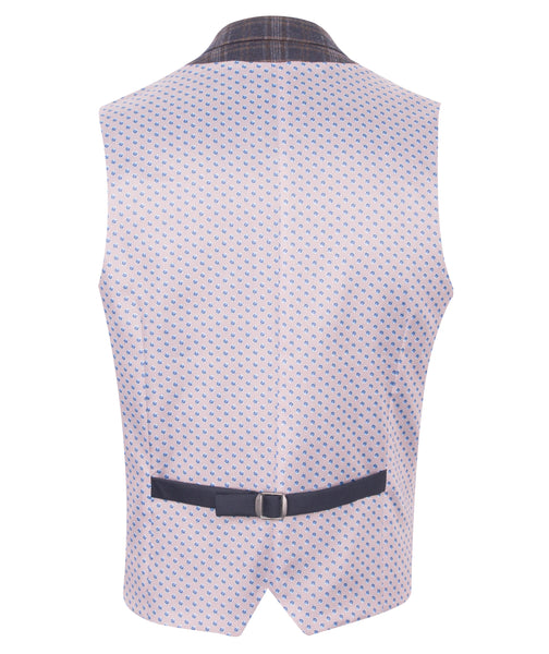 Navy Checked waistcoat by Guide London