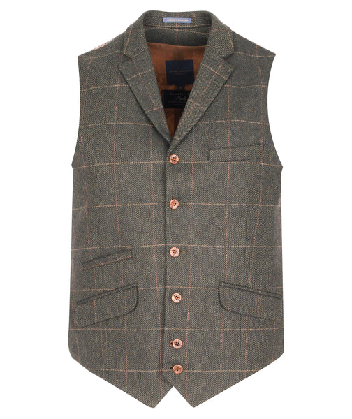 Waistcoat Olive - Tan checked by Guide London
