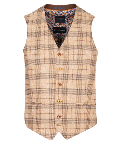 Guide London Tan Check Waistcoat