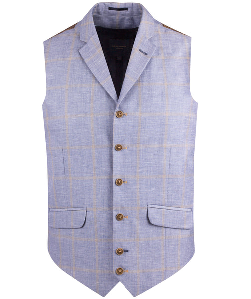 LINEN BLEND CHECK WAISTCOAT IN 2 COLOURES