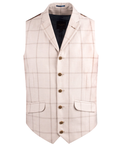 TAN LIGHT CHECK WAISTCOAT