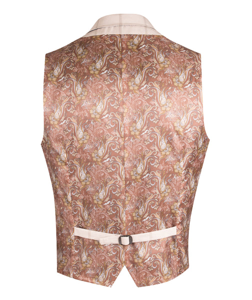 z TAN LIGHT CHECK WAISTCOAT