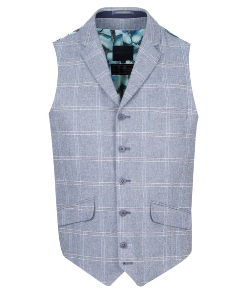 Guide London Blue Grey Checked Waistcoat