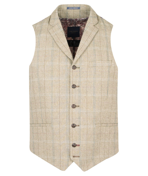 Guide London Olive Waistcoat with Trim Collar