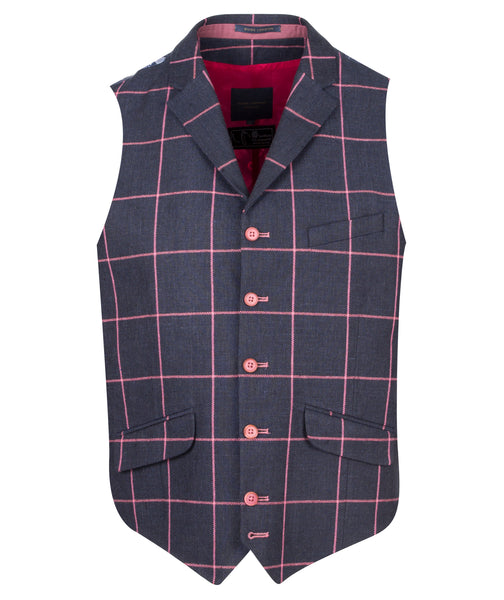 Guide London Navy Waistcoat with Pink Checked