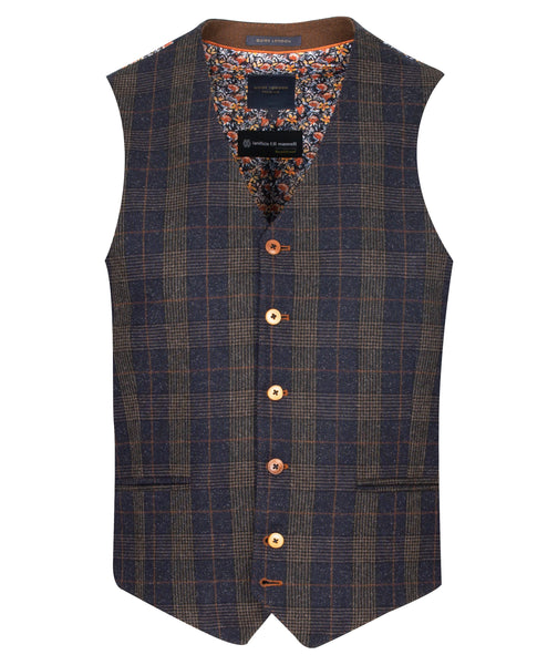 Guide London Check Navy Waistcoat