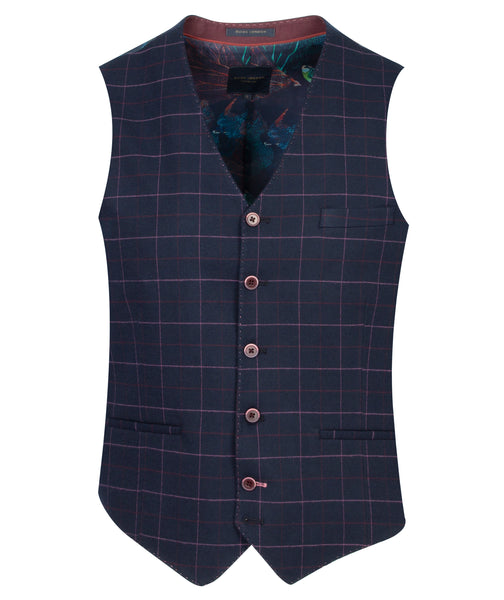 Guide London Navy Waistcoat with fine pink check