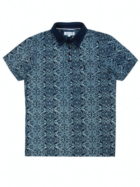 Pearly King Cluster Baroque Inspired Printed Short Sleeve Polo, Indigo