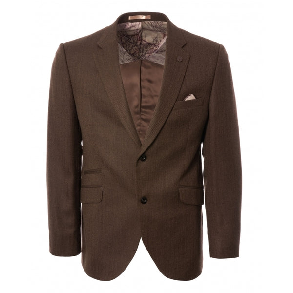 Gibson London Herringbone Blazer in Coffee Colour