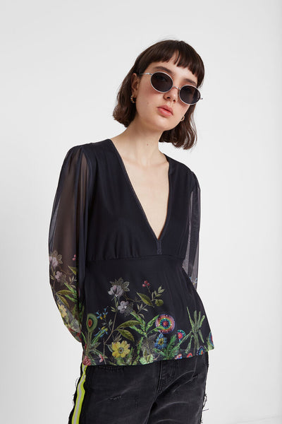 Floral blouse double layer of tulle THESSE