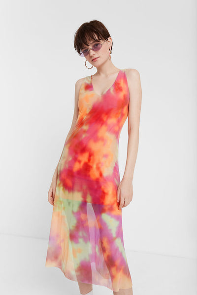 Desigual Tie-dye Double Layer Flared Dress TUTTI FRUTI