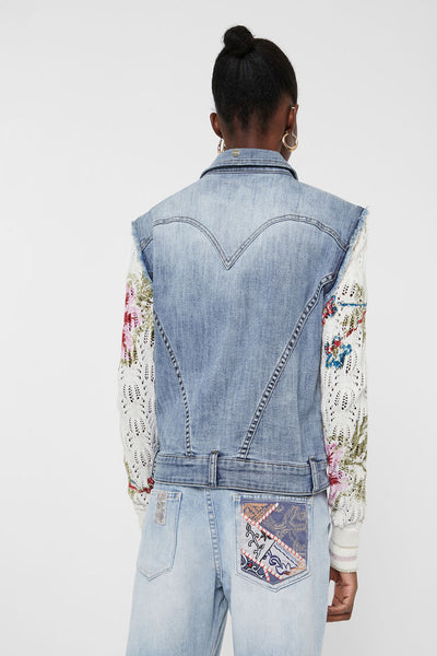 Jacket floral patch jean and crochet VILLENA