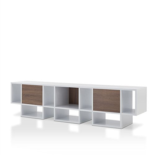 "HOMES: Inside + Out Gerome Paneled 82"" TV Stand, White/Chestnut Brown"