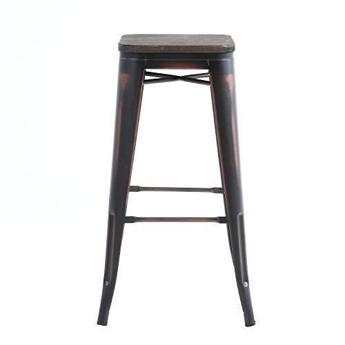 Buschman Set of Four Distressed Black Wooden Seat 30 Inches